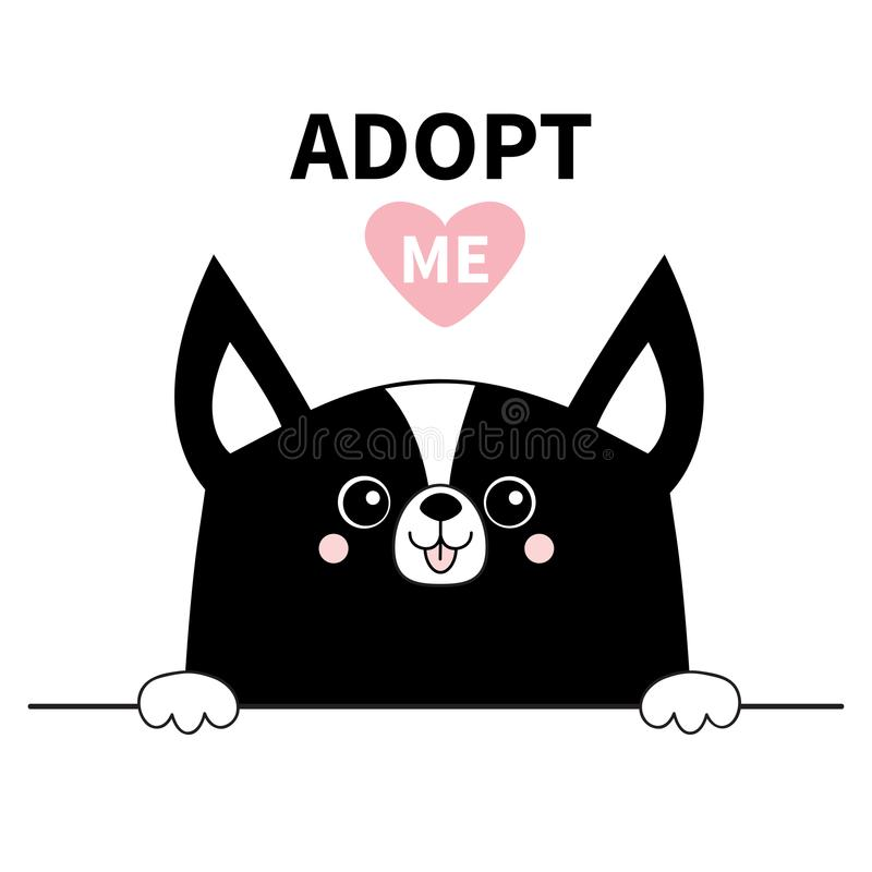 Black chihuahua dog face head. Hands paw holding line. Adopt me. Help homeless animal Pet adoption. Pink heart. Cute cartoon puppy vector illustration