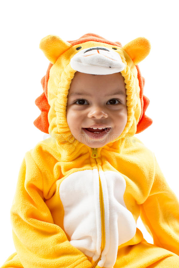 Black child boy,dressed in lion carnival suit, isolated on white background. Baby zodiac - sign Leo. The concept of childhood and holiday royalty free stock images