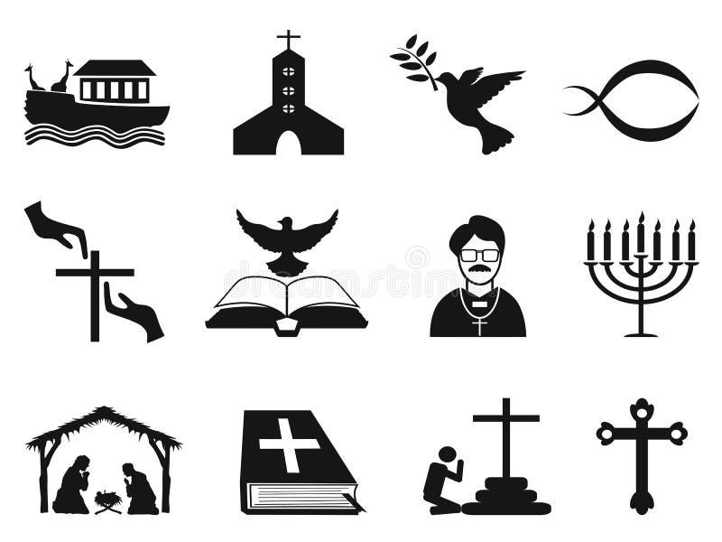 Black christian religious icons set vector illustration