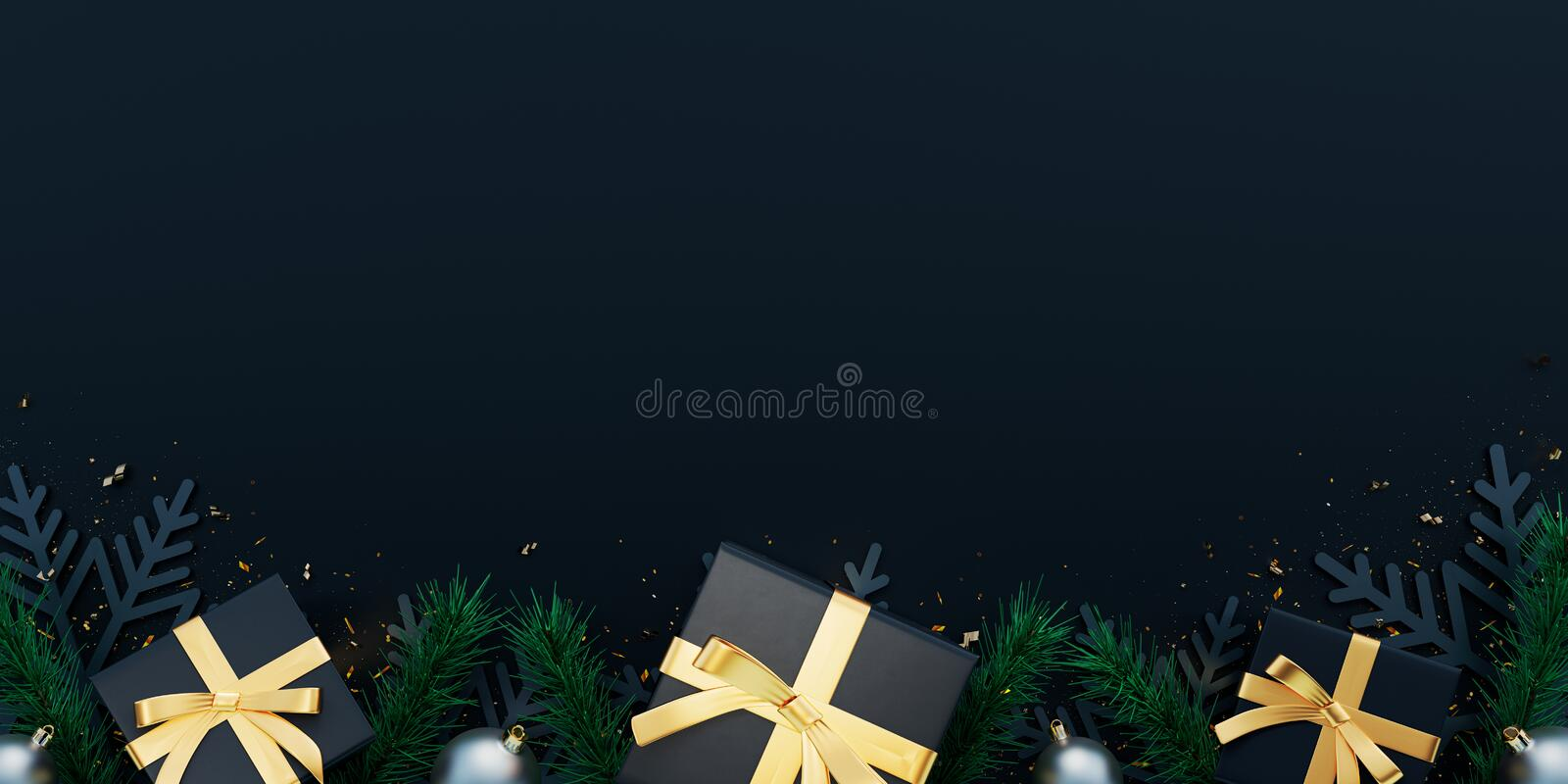 Black Christmas background decorated with gifts and snowflakes. 3D Rendering vector illustration
