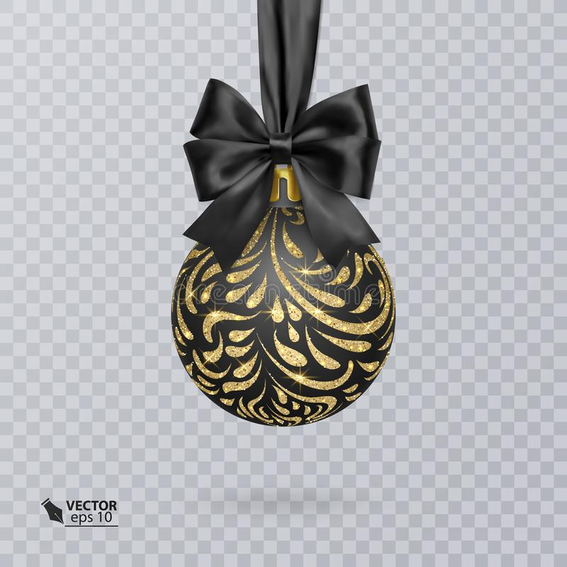 Black, Christmas ball decorated with a realistic black bow and a shiny, gold ornament. Vector illustration. Black, Christmas ball decorated with a realistic vector illustration