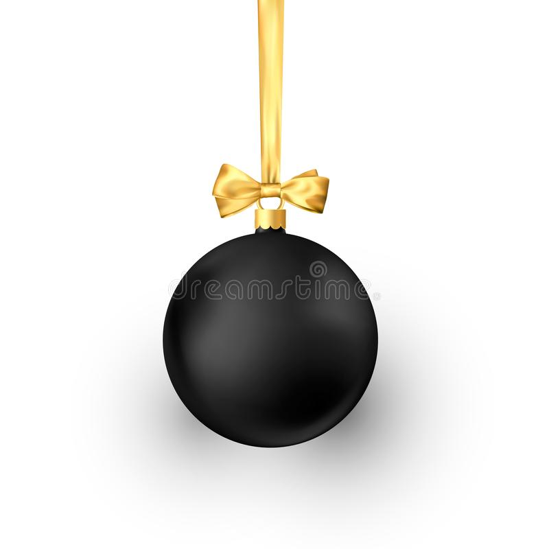 Black Christmas ball with golden silk ribbon. Element of holiday decoration. Vector illustration isolated on white vector illustration