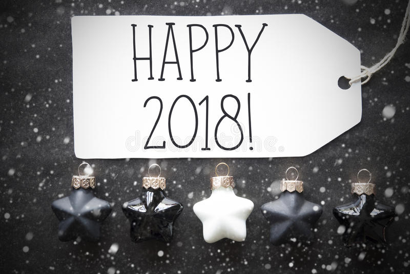Black Christmas Balls, Snowflakes, Text Happy 2018 stock photography