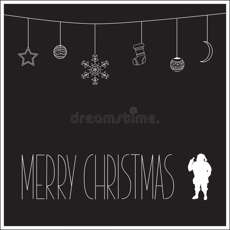 Black Christmas card with white silhouette of Santa Claus and text. Vector illustration royalty free stock photography