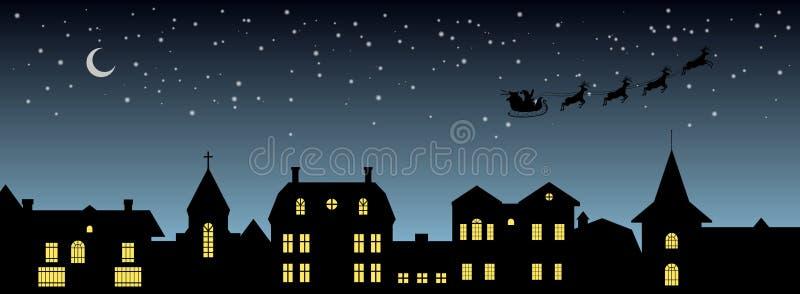 Black christmas panorama. Night city silhouette. Celebration scene. Isolated village landscape. Holidays graphic. Vector illustration stock illustration