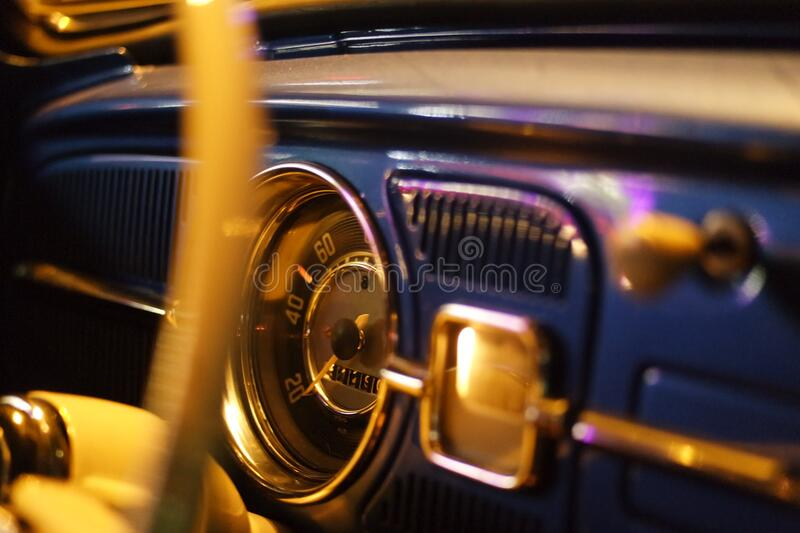 Black and Chrome Classic Analog Speedometer royalty free stock photo
