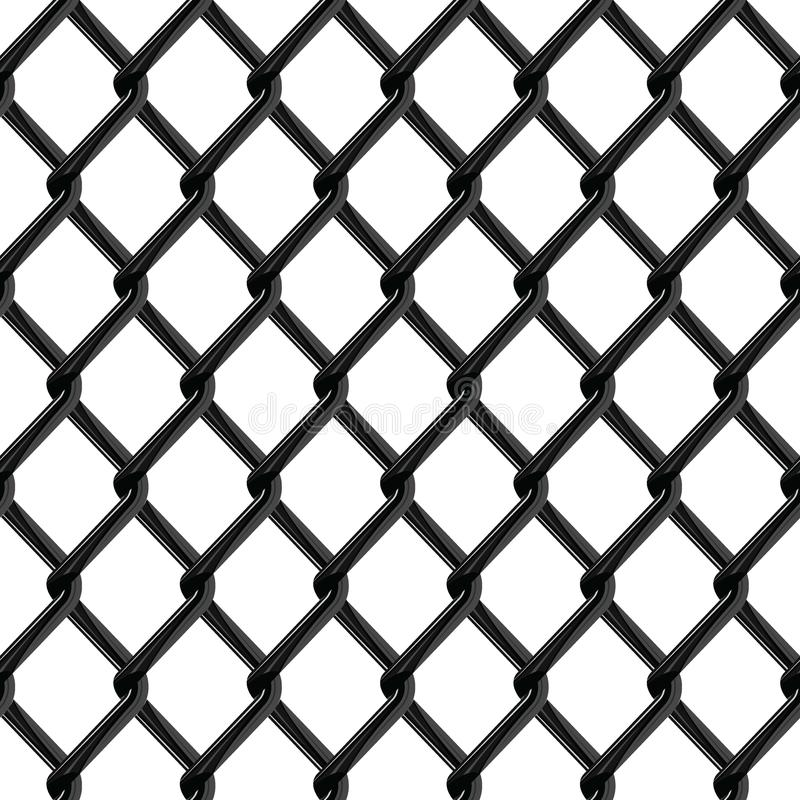 Black chrome fence seamless structure. Chainlink isolated on white background. Vector illustration. EPS 10 stock illustration