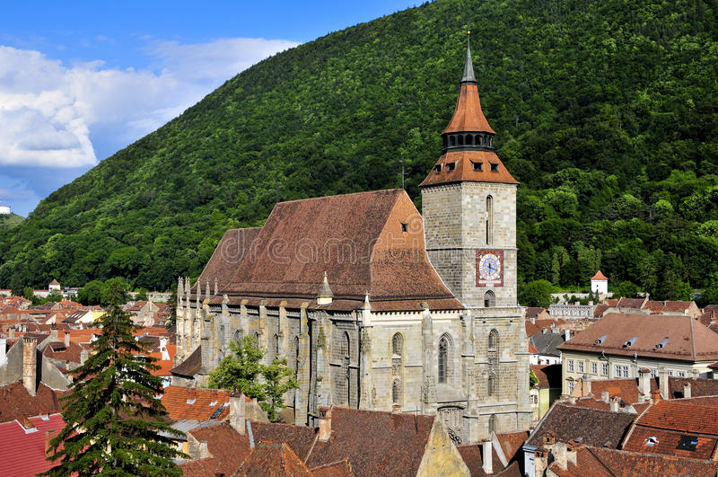Black church in brasov stock image