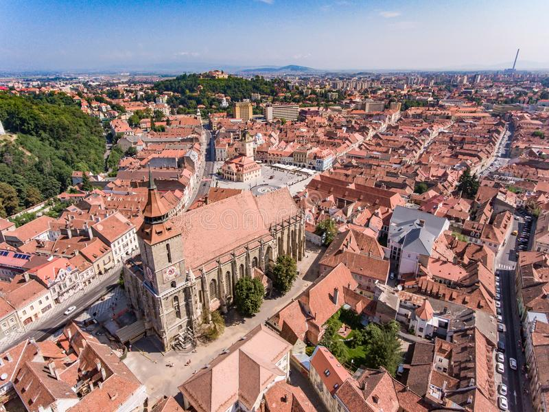 The Black Church in Brasov, Romania, aerial view royalty free stock photos