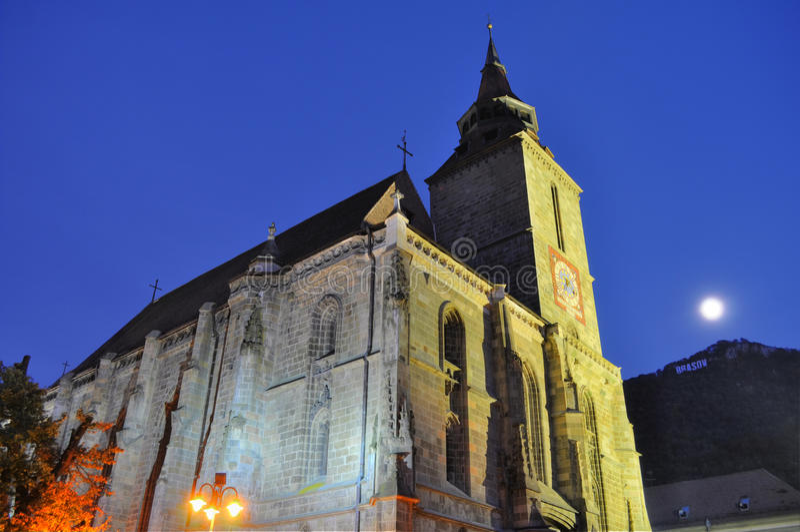 Download Black Church At Night, Transylvania, Full Moon Stock Image - Image: 21593929