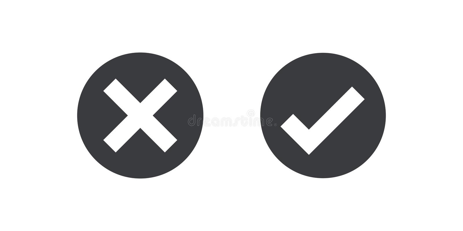 Black circle icon check mark icon isolated on transparent background. Approve and cancel symbol for design project. Flat bu. Black circle icon check mark icon stock illustration