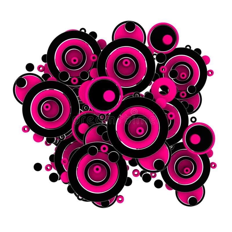 black cirklar pink vektor illustrationer
