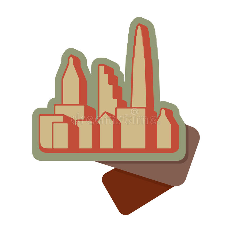 Black Cities Silhouette Icon Royalty Free Stock Images
