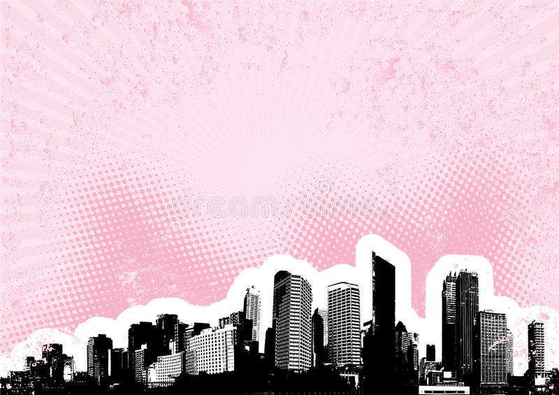 Black city with pink. Vector royalty free illustration