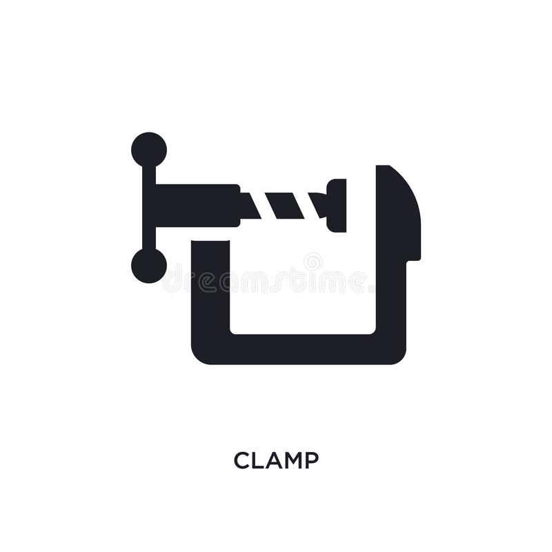 Black clamp isolated vector icon. simple element illustration from industry concept vector icons. clamp editable logo symbol. Design on white background. can be royalty free illustration