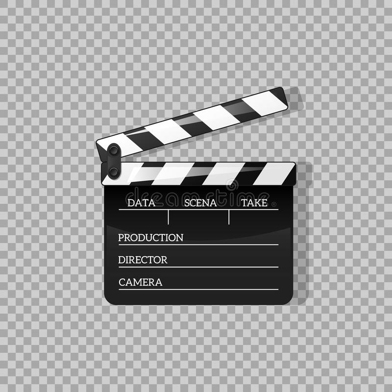 Black clap open black object element for movie vector illustration Flat in style. Symbol Icon on films for your projects. Black clap open black object element stock illustration