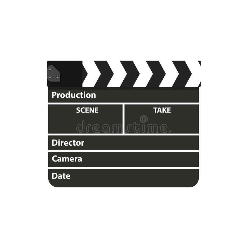 Black clapperboard. Movie clapper board. Vector illustration in flat style on white background royalty free illustration