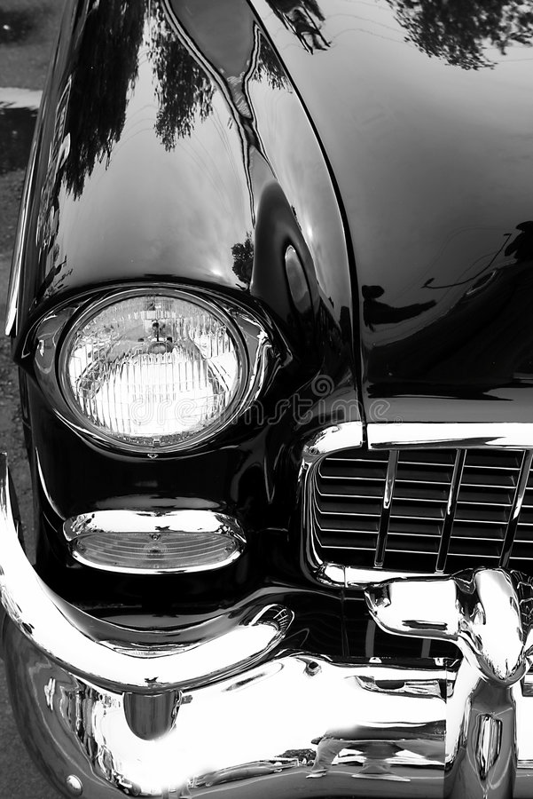 Black Classic Car. Right side view of classic car close up royalty free stock photography