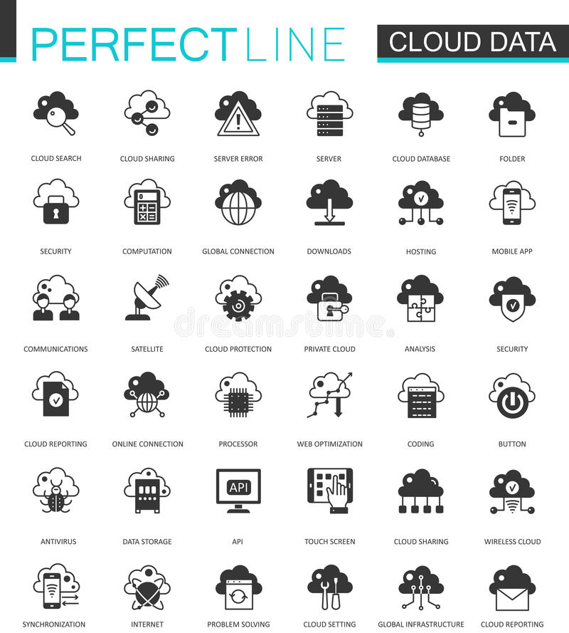 Black classic Data cloud technology web icons set. Global connection icon. stock illustration