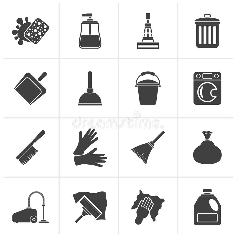 Black Cleaning and hygiene icons. Vector icon set vector illustration