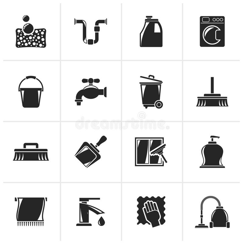 Black Cleaning and hygiene icons. Vector icon set royalty free illustration