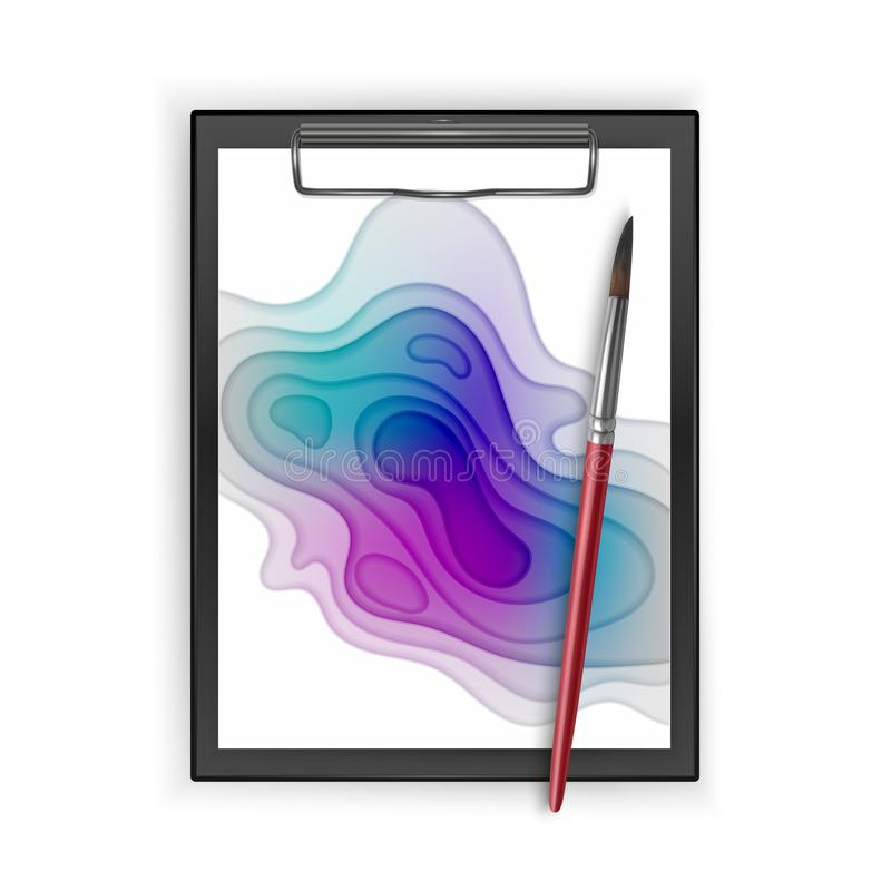 Black clipboard with Colorful poster, size of a4, decoration with paper cut design, realistic brush, vector illustration royalty free illustration