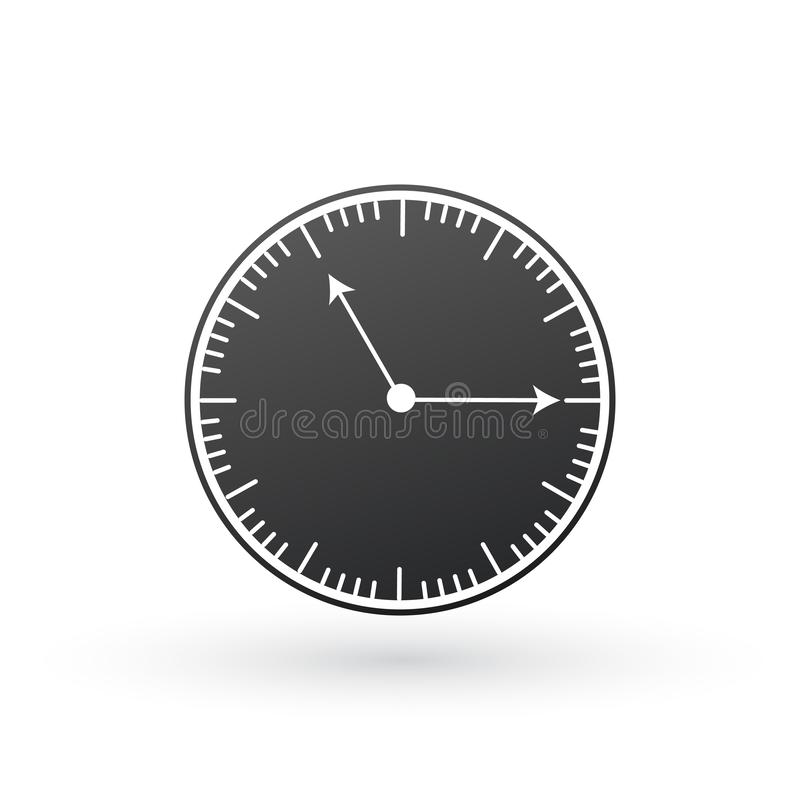 Black Clock icon. Time symbol. Vector Illustration isolated on white background vector illustration