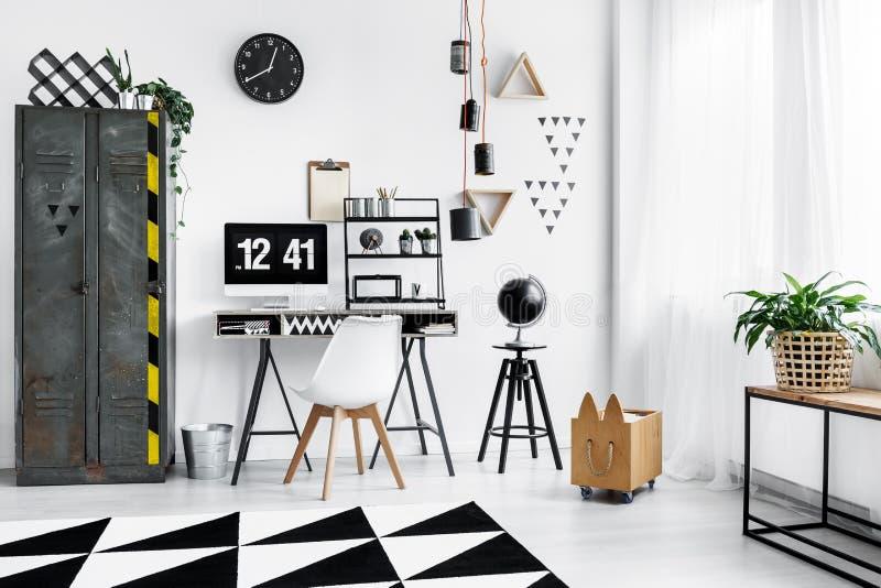 Black clock on wall stock photo