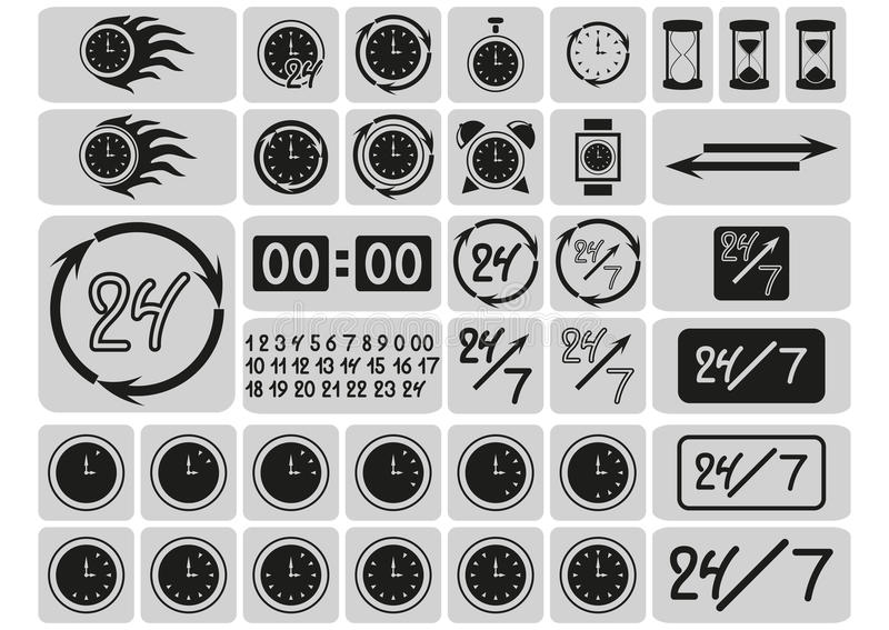 Black clocks icons in the gray squares, arrows, 24 hours a day and 7 days a week, hand drawn digits, signs set royalty free illustration
