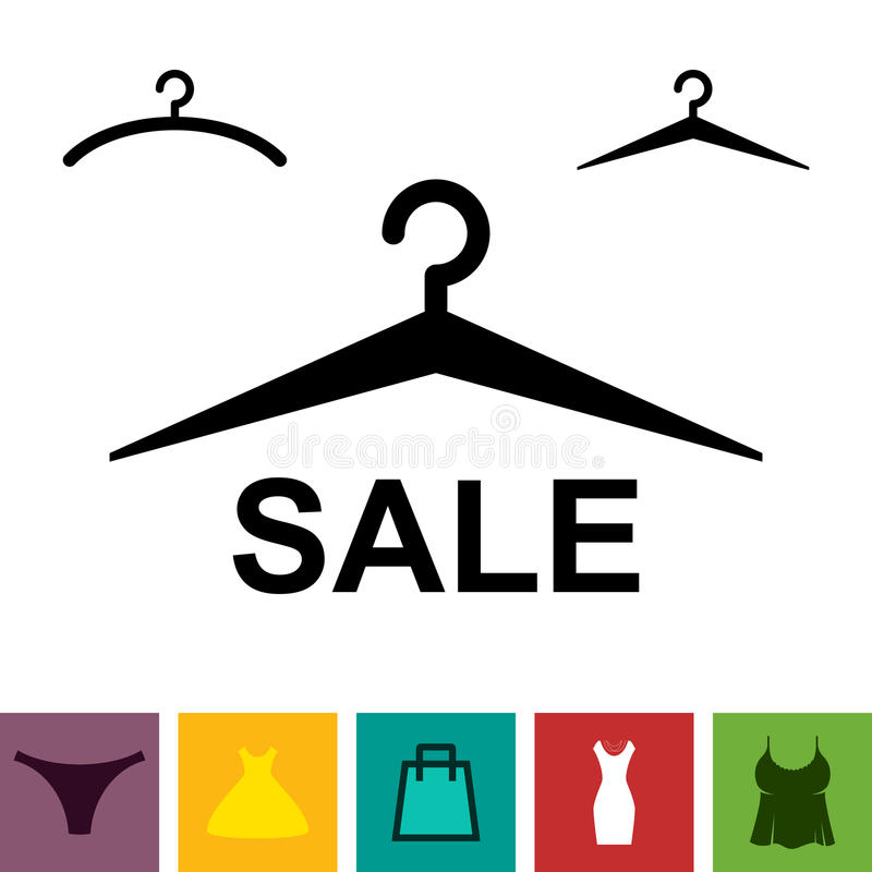 Black Clothes Hanger Icon on White Background. Simple Black Clothes Hanger Icon for Fashion or Sale Design Isolated vector illustration