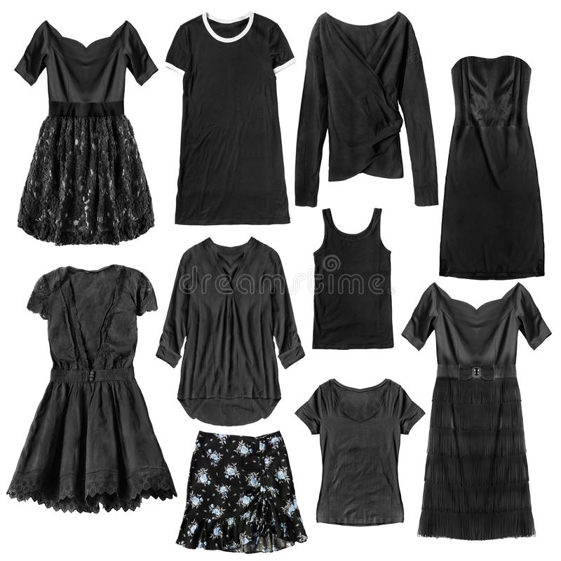 Black clothes isolated. Black woman clothes on white background stock photos