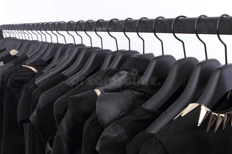 Download Black clothes on shelf stock image. Image of different - 25339479