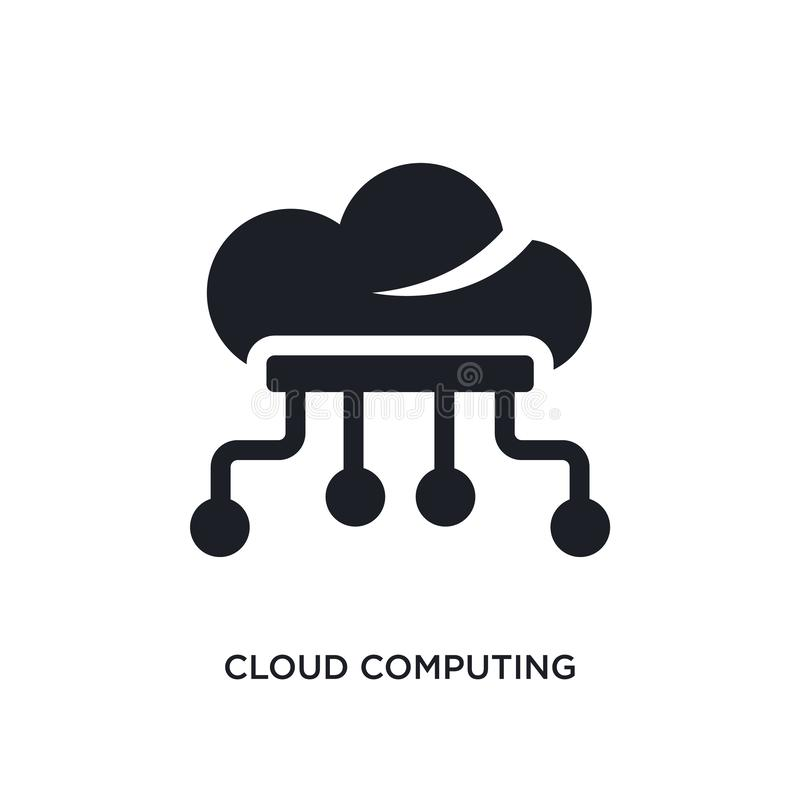 black cloud computing isolated vector icon. simple element illustration from artificial intelligence concept vector icons. cloud stock illustration