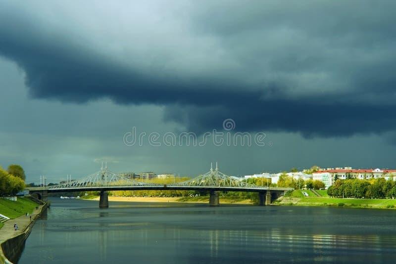 A Black Cloud Over The River Volga Tver Stock Image