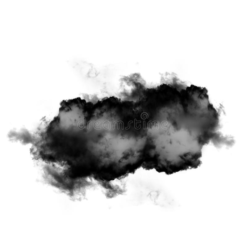 Black cloud or smoke isolated over white background royalty free stock image