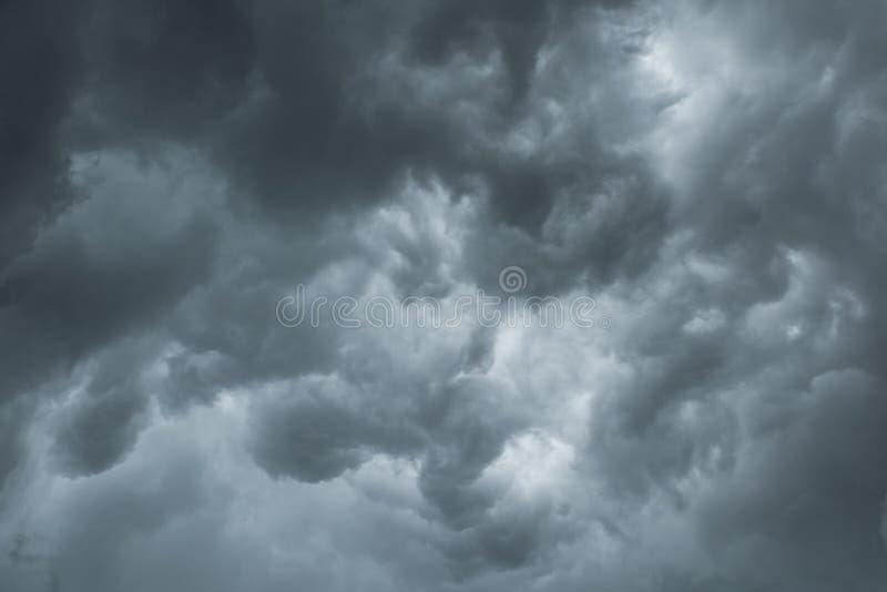 Black cloud and thunder storm, Dramatic dark cloud. Before rainy royalty free stock photos