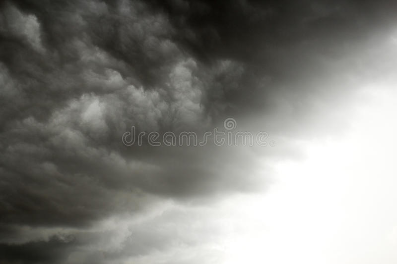 Black cloud in to the storm. Dark clouds, rain storms are forming royalty free stock photos