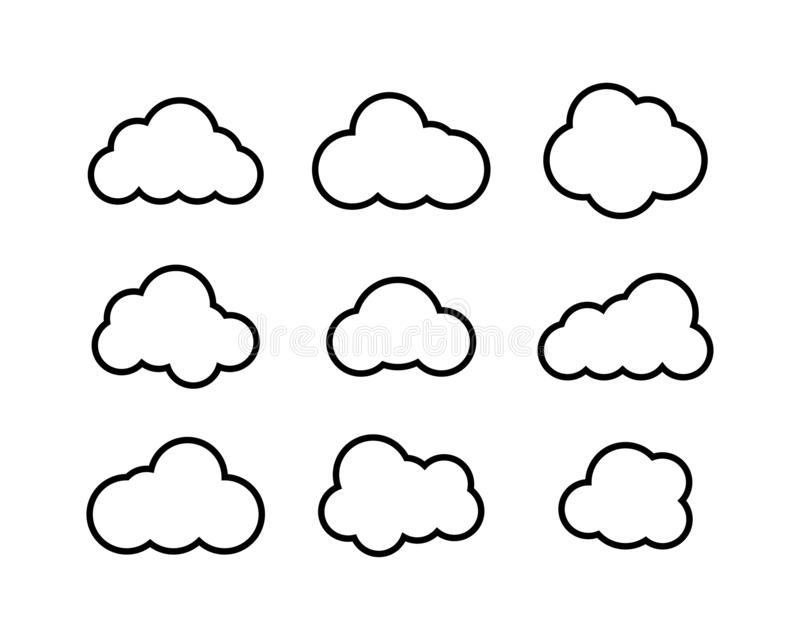 Black Clouds collection in linear design. Black Clouds icons. Clouds isolated vector illustration
