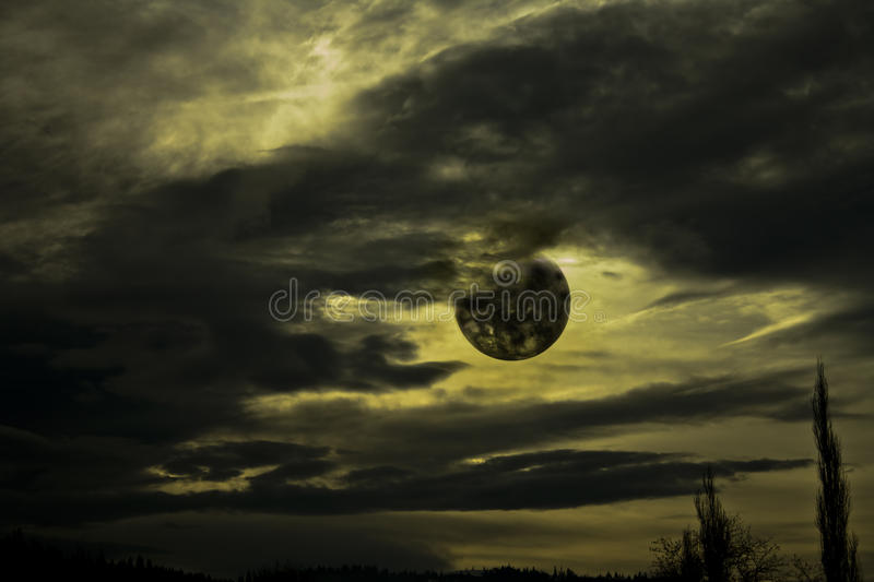 Black clouds and moon royalty free stock images