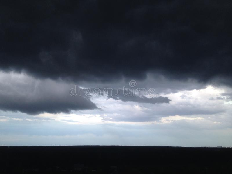 Black clouds in the sky stock photos