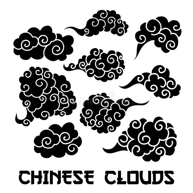 Black Clouds and wind blows silhouettes vector illustration. Smoke isolated clipart. Chinese art abstract drawing royalty free illustration