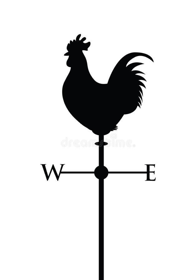 Black cockerel silhouette. Cockerel on a weather post royalty free illustration