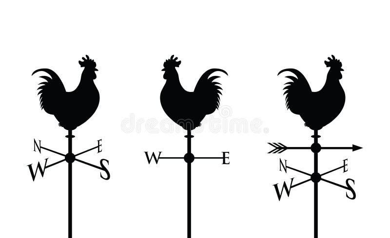 Black cockerel silhouette. Cockerel on a weather post vector illustration
