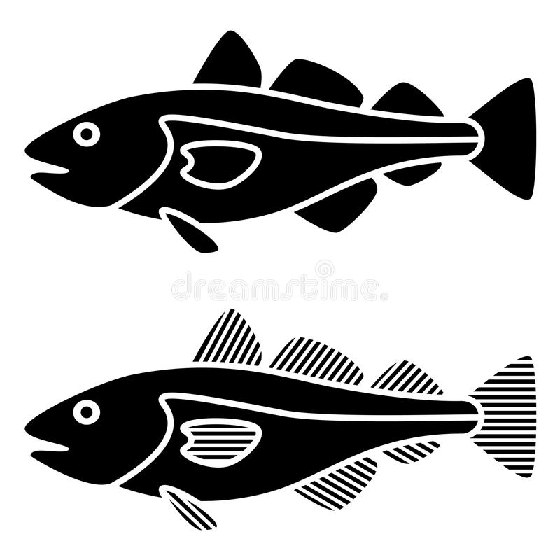 Black cod fish silhouettes. Illustration for the web royalty free illustration