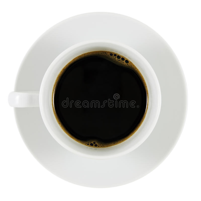 Black Coffee. In White Cup. White Backround. Shallow Depth of Field stock photo