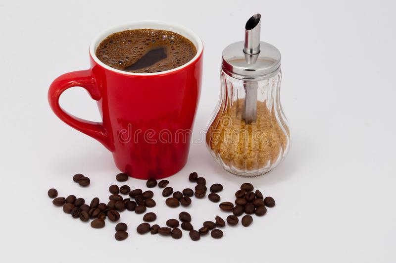 Black coffee with brown sugar,Morning with black coffee stock photos