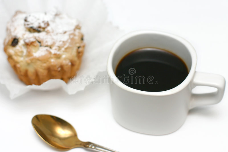Download Black coffee and cakes stock photo. Image of powdered - 1667180