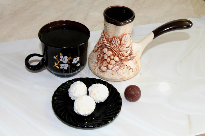 Black coffee chocolates stock photography