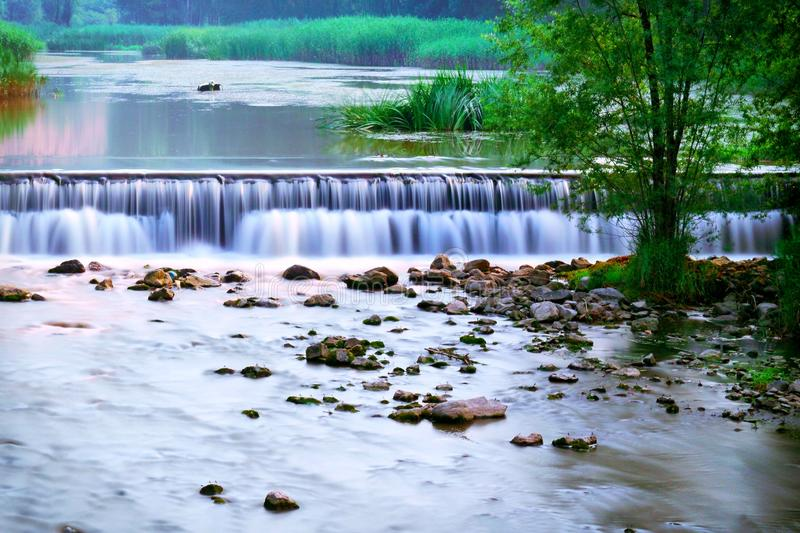 River and water fall. View of river and water fall in summer time, Beijing, China stock photos