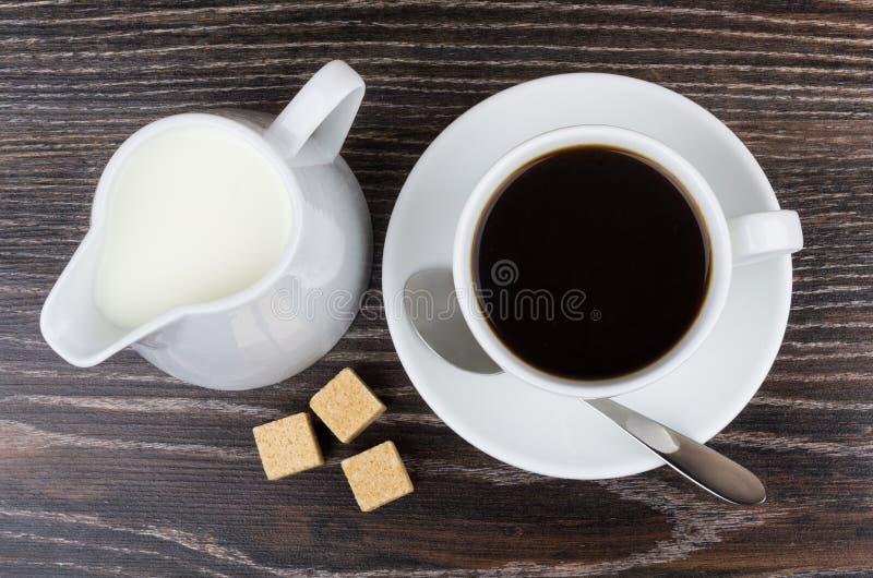 Download Black Coffee In Cup, Jug Milk And Brown Sugar Stock Image - Image of spoon, heat: 78840495